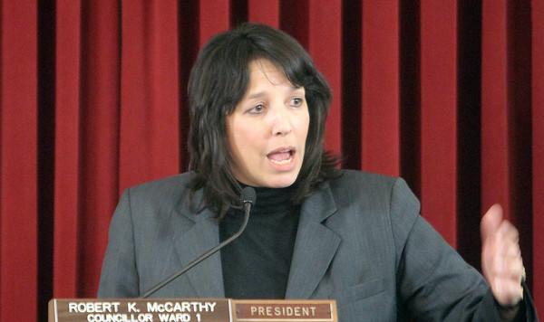 Salem: Salem Mayor Kim Driscoll address the city council chambers during her State of the City address. Photo by Mark Lorenz/Salem News