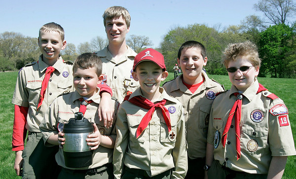 Danvers: Cub Scouts from Troop 19 of Middleton, Andrew Leaf, Garrett Bampos, Joe Florance, Ryan Lacke, Chris Schena, and Kevin Duke. during the Scout Expo held at Endicott Park. Photo by Mark Lorenz