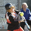 Danvers: Ispwich High School Liz Glavin connects with the ball in game agaisnt Danvers High at Great Oak softball fields. photo by Mark Lorenz/Salem News
