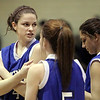 Peabody: Danvers High School basketball player, Sarah Palazola, with teammates before their game against Bishop Fenwick. Photo by Mark Lorenz/Salem News