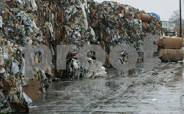 Salem: With the economy in a slump recycle companies are feeling the effects. About 10 tons of paper sits at the North Shore Recycled Fibers. Photo by Mark Lorenz/Salem News