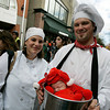 Salem: Jen Eckert and her husband, Brian dressed as chefs and their lobster plate, their son Barrett, during Halloween in Salem. Photo by Mark Lorenz/Salem News