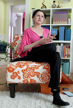 Wenham: Marsha Danzig at her Wenham home,  speaks about her yoga program called Color Me Yoga. The program puts an emphasis on reaching children who have physical, emotional or mental challenges. Photo by Mark Lorenz/Salem News