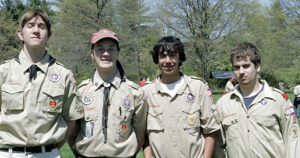 Danvers: Cub Scouts from Troop 24 out of Salem, Kyle Sullivan, Brian Kirby, Will Fellows and Mike Crafts, during the Scout Expo held at Endicott Park. Photo by Mark Lorenz