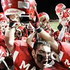Lowell: Masconomet Regional High School's George Alexandrou celebrates with teammates over their win against Concord-Carlisle giving them a chance to play in the high school suoperbowl. Photo by Mark Lorenz/Salem News