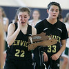Boston: Bishop Fenwick  captains Sydney Southern and Lizzy Trainor with their second place trophy in the Division III North Sectional Championship at Emmanual College. Bishop fell to Pentucket Regional High School. Photo by Mark Lorenz/Salem News