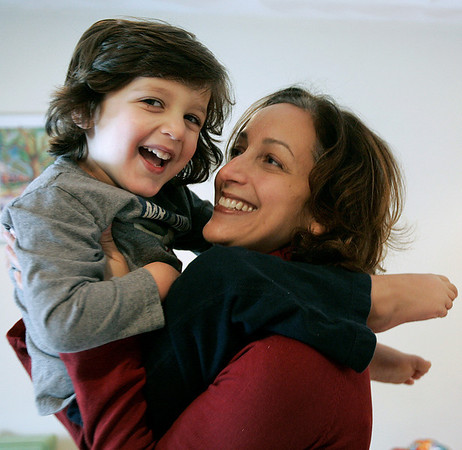 Peabody: Lisa Waxman with her son, Brady at their Peabody home. Lisa, who survived severe postpartum depression recently testified on Beacon Hill in favor of a bill that would make Massachusetts the first state in the country to mandate screening for postpartum depression. Photo by Mark Lorenz/Salem News
