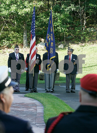 Peabody:  Jewish - Veterans prepare for the start of the September 11th Memorial, held at Woodbridge Assisted living, guest speaker, Seth Moulton USMC Captain spoke about his duties the the country and his four - tours of duty in Iraq. Photo by Mark Lorenz/Salem News