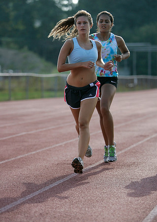 Beverly: Beverly High School cross-country captain, Irene Carrozza,during Friday morning track work outs. Photo by Mark Lorenz/Salem News<br /> , Beverly: Beverly High School cross-country captain, Irene Carrozza,during Friday morning track work outs. Photo by Mark Lorenz/Salem News