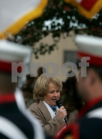 Beverly: State Rep. Mary Grant speaks during the Beverly Veterans Day serive yesterday morning, held at Odell Park. Staff by/ Mark Lorenz