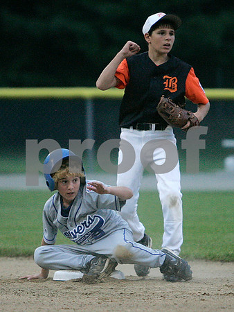 Beverly: Danvers American player, Ryan Buchanan awaits the call, as Beverly East's Mark Vivenzio signals out. Buchanan was tagged out at second, in game at Harry Ball Field. Photo by Mark Lorenz/Salem News