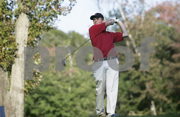 Salem: Marblehead High School golf captain, Eric Steen watches his shot after teeing off at Salem Country Club in match against Peabody High School. Photo by Mark Lorenz/Salem News Wednesday, September 24, 2008