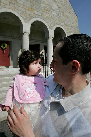 Danvers: Shawn L'Italien and his daughter, Callie, enjoy the warm day, during Easter mass at St Mary of The Annunciation Parish. Photo by Mark Lorenz/Salem NewsPhoto by Mark Lorenz/Salem News
