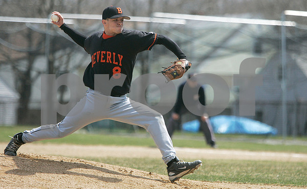 Beverly: Frankie Messina, delivers a pitch in the first inning in home game against Wakefield, at Hurd Studium. Photo by Mark Lorenz/Salem News