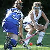 Hamilton: Georgetown High School's Shannon Killian battles for the ball against  Hamilton - Wenham's Magan Walsh in game. Photo by Mark Lorenz/Salem New