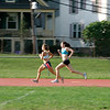 Beverly: Irene Carrozza captain of the Beverly High School girls cross-country team, and one of her teammates, during Friday morning workouts. Photo by Mark Lorenz/Salem News