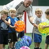 Beverly: Jeff Winterton leads an introductory class for beginner soccer players, at New England Aztecs Soccer. Jeff works with Connor DiTomaso of Peabody, Josh Adler of Merrimack, Christopher Messina of Salem, and Colin Fidler of Beverly . Photo by Mark Lorenz/Salem News