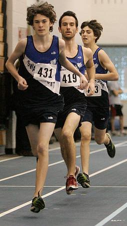 Swampscott: Swampscott mile runners, Matt Mahoney, Matt Gadman, and Andy Covino finished one, two and three during meet against Salem. photo by Mark Lorenz/Salem News