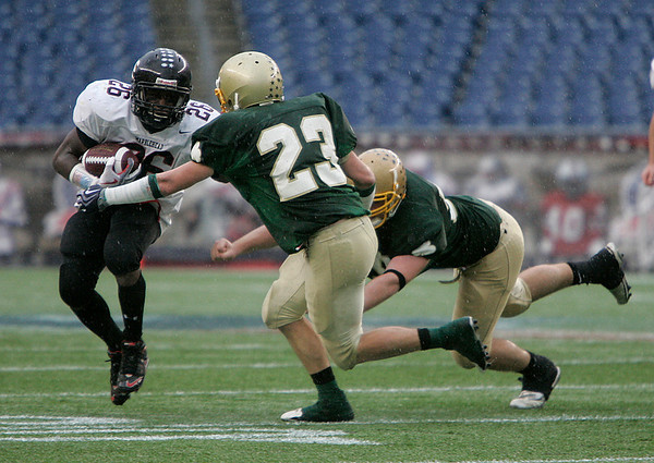 Foxboro: Marblehead Highs Marcell Hardmon looks down field against Bishop Feehan, in Div III Superbowl at Gillette Stadium. Photo by Mark Lorenz/Salem News