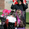 Beverly: Gail Donlon a first grade teacher at North Beverly Elementary School and some of her students get ready to participate in the schools annual Halloween Parade. photo by Mark Lorenz/Salem News
