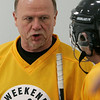 Peabody: Rick Middleton chats with a teammate during 3 on 3 hockey, at Pro Skills Training. Photo by Mark Lorenz/Salem News