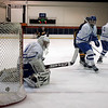 Salem: Danvers High's goalie Seth Kamens lets this shot thru in the first period against Lynnfield in the Division 2 North state tournament preliminary round, at Salem State. Photo by Mark Lorenz/Salem News