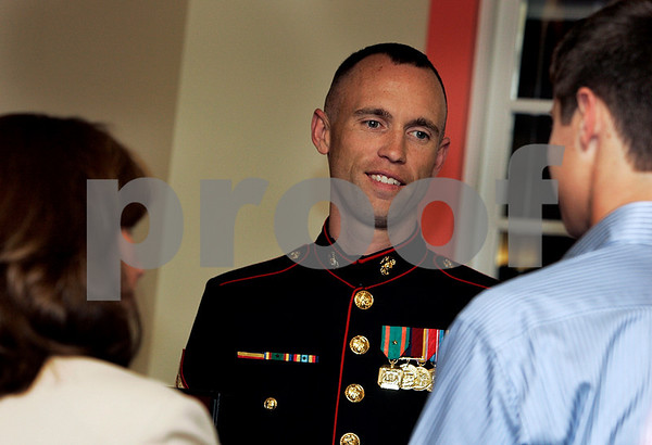 Danvers: Sergeant Ian Hamill, I.S. Marine Corps speaks with students during Congressman John Tierney's Service Academies Night, held at North Shore Community College. Photo by Mark Lorenz/Salem News
