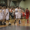Danvers: St. John's Prep players celebrate after a close game against Central Catholic, defeating them 72-70.  Photo by Mark Lorenz/Salem News