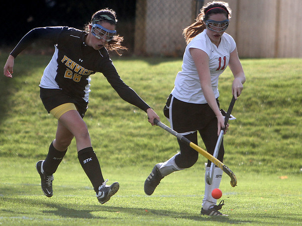 Marblehead: Bishop Fenwick's Kayla Caruso tries to steal the ball from Marblehead's Anna Driscoll in North Division II Tournament.  Photo by Mark Lorenz/Salem News