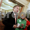 Salem: Congressman John Tierney speaks with, Paul Lanzikos of North Shore Elder Services, INC., and Rebecca Linhart of Sharp-Linhart Financial Strategies during the North Shore Chamber of Commerce November 5th Economic & Public Policey Breakfast Forum, at the Hawthorn. Photo by Mark Lorenz/Salem News
