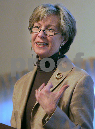 Danvers: Suzanne Bump, secretary of labor & workforce development speaks at the North Shore Chamber of Commerce Economic & Public Policy Breakfast, held at the Danversport Yacht Club yesterday morning. Photo by Mark Lorenz/Salem News