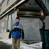 Beverly: Amanda Mazzaglia  and her son, Terran, 9, has written to the City Council asking that a memorial to the 15 victims of the 1984 Elliott Chambers rooming house fire be built at the site , where they are standing. Now an empty building , it is scheduled to be torn down and turned into a CVS. She was 8 years old at the time of the fire and lived down the street. Photo by Mark Lorenz/Salem News