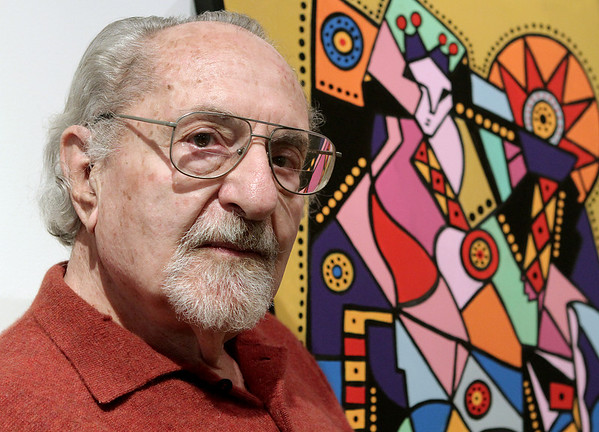 Beverly:  J. David Broudo, 90, who taught at Endicott College for 50 years and built the art program at the college, will showcase his work from over five decades, including a series he just finished this year, at the Heftler Visiting Artist Gallery, Center for the Arts, Endicott College<br /> It's a Retrospective with 64 pieces, including painting, stoneware and enamel. Photo by Mark Lorenz/Salem News