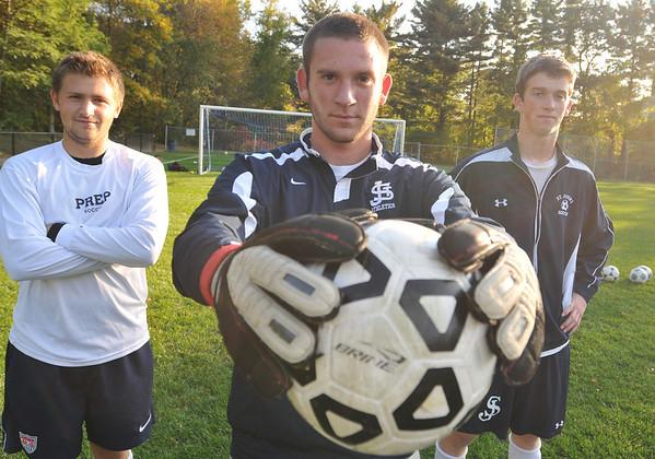 Danvers: St. John's Prep soccer captains are Jack Gourdeau, left, Kenn Fryer, and Deklan Robinson. photo by Mark Teiwes / Salem News