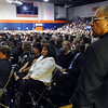 Salem: Prior to speaking, Deepak Chopra, mind-body healer and author, looks out his audience, a sold out crowd of 1,600 which filled the O'Keefe Sports Complex.  photo by Mark Teiwes / Salem News