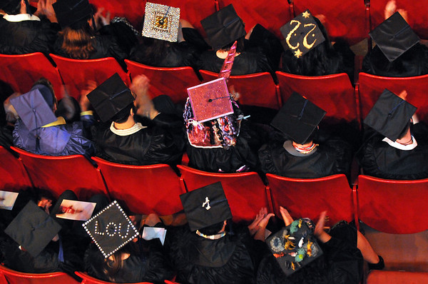 Beverly: Many Montserrat College of Art students decorated their caps and gowns to celebrate graduation. staff photo by Mark Teiwes / Salem News