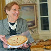 Ipswich: Anna Traveis of Ipswich brought a strawberry rhubarb pie for the annual harvest supper fundraiser at the Ipswich Museum.  photo by Mark Teiwes / Salem News