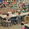 Peabody: First grade teacher Mrs. Covino introduces a math activity to her class on the first day of school at West Memorial School in Peabody.  photo by Mark Teiwes / Salem News