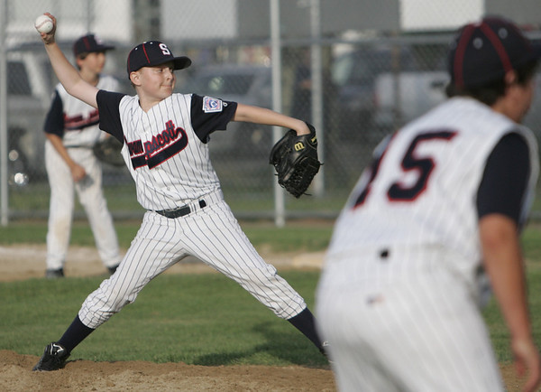 Lynn:  Swampscott's Dan Muller throws a change up pitch in a district 16 little league game. photo by Mark Teiwes / Salem News