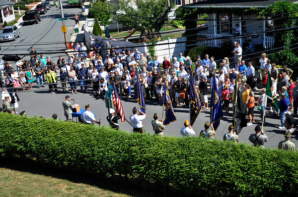 Ipswich: A military ceremony was held at he corner of Wayne Avenue & Lafayette Street.  This square is named Master Sergeant Mark R. LaRochelle Square.  He was a career soldier from Ipswich who was killed in a helicopter crash during a training mission in Arkansas on July 27, 1990.  photo by Mark Teiwes / Salem News