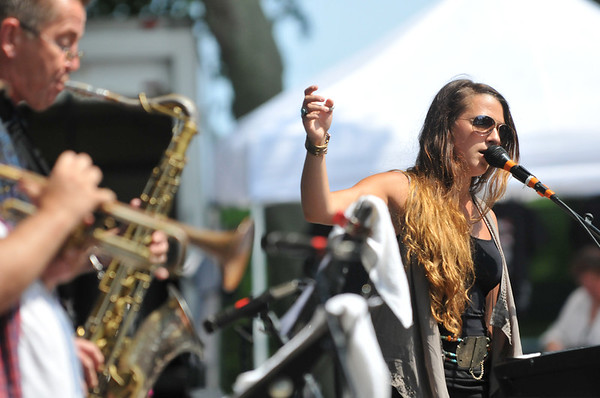Salem: Nicky Egan, right, performs during the Salem Jazz and Soul Festival at the Salem Willows.    photo by Mark Teiwes /  Salem News