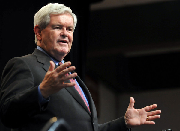 Salem: Former Speaker of the House Newt Gingrich speaks at Salem State's speaker series.  photo by Mark Teiwes / Salem News