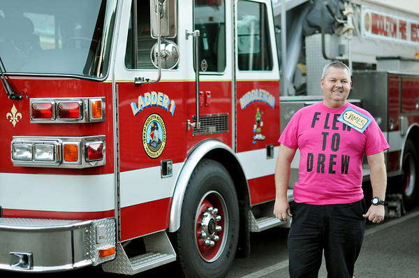 Middleton: Middleton Fire Fighter, Jim Hannon won a hot tub on the Price is Right.  He is wearing the shirt that he wore on the show.    photo by Mark Teiwes / Salem News