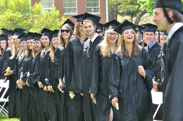 Wenham: Gordon College art majors line up to recieve their diplomas at Saturday's commmencement program   photo by Mark Teiwes / Salem News