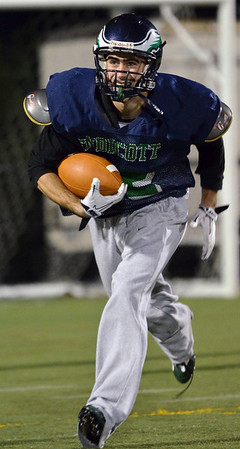 Beverly: Endicott's Bill Hickey makes a punt return during practice.  photo by Mark Teiwes / Salem News