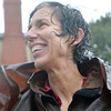 Salem:  Dale Seamans of Salem is drenched after walking around her neighborhood in the Tropical Storm Irene.   photo by Mark Teiwes / Salem News