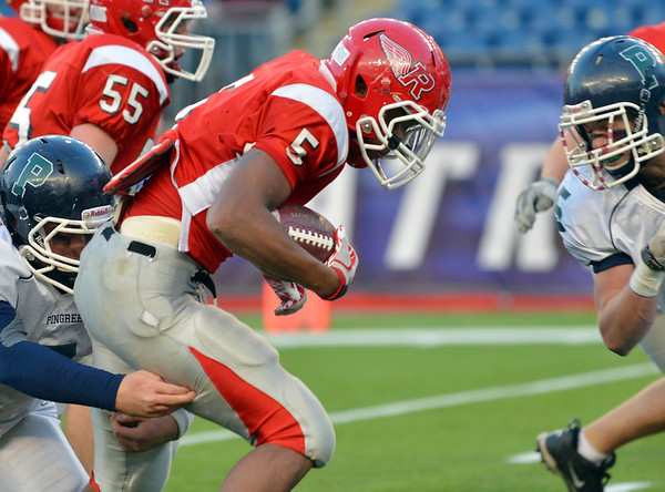 Foxborough: Taariq Allen, former  Marblehead star, rushed for Rivers on 28 carries for 142 yards.   photo by Mark Teiwes / Salem News