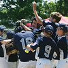 Danvers: Hamilton-Wenham players celebrate after Nico Serpa, (16) hit a homerun in a District 15 Little League all-star game against Amesbury.   photo by Mark Teiwes / Salem News