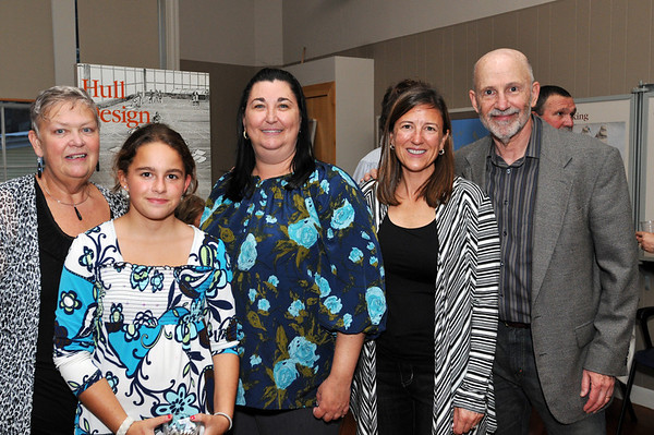Salem: From left, Pam Racicot, and her granddaughter Olivia Hanna, 8th grader at the Phoenix School, Cheri Gagnon, Holly Dinsmore, and her father David Frances.  Hollly Dinsmore commented on how creativity is paramount in the learning at the Phoenix School.