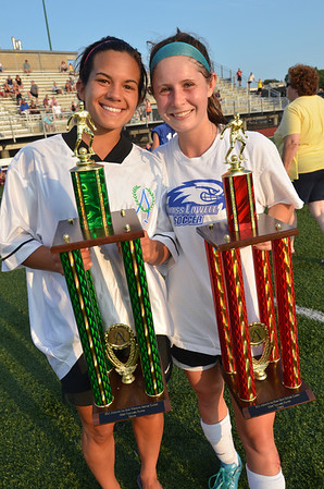 Lynn: Kristin Verrette, left, of Bishop Fenwick, and Brittany Russo from Danvers High School hold their trophies after being named the MVPs for their teams in the Agganis All-Star Women's soccer classic.   photo by Mark Teiwes  / Salem News